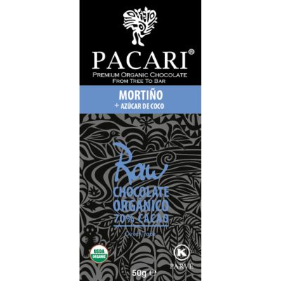 Barra chocolate orgánico Mortiño Raw 70%